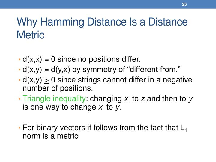 Why Hamming Distance Is a Distance