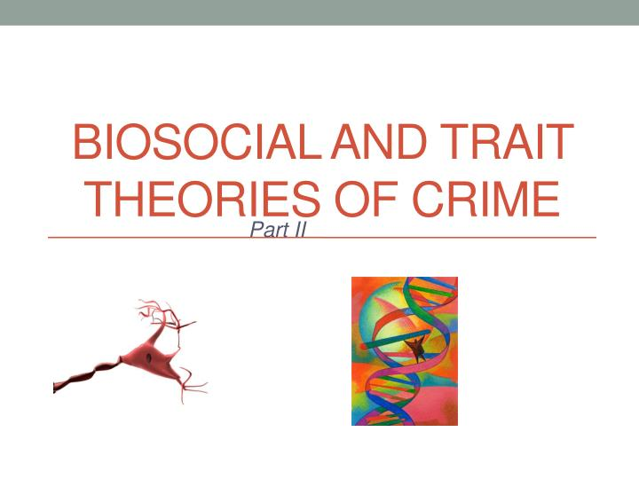trait theory of crime The evolution of criminal justice theory as it assigns part of the guilt for a crime to biological and physical traits that are beyond the criminal's conscious.