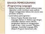 bahasa pemrograman programming language