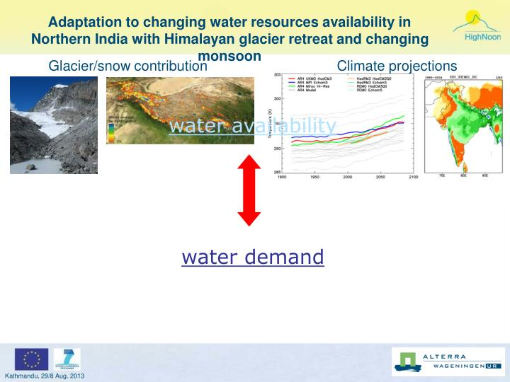 Adaptation to changing water resources availability in Northern India with Himalayan glacier retreat...