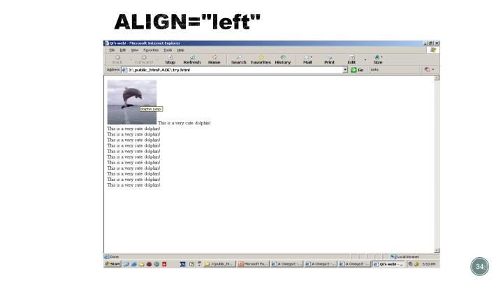 """ALIGN=""""left"""""""