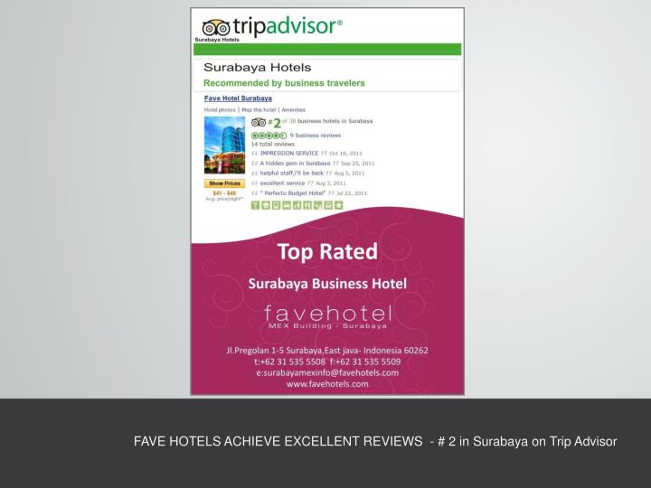 FAVE HOTELS ACHIEVE EXCELLENT REVIEWS  - # 2 in Surabaya on Trip Advisor