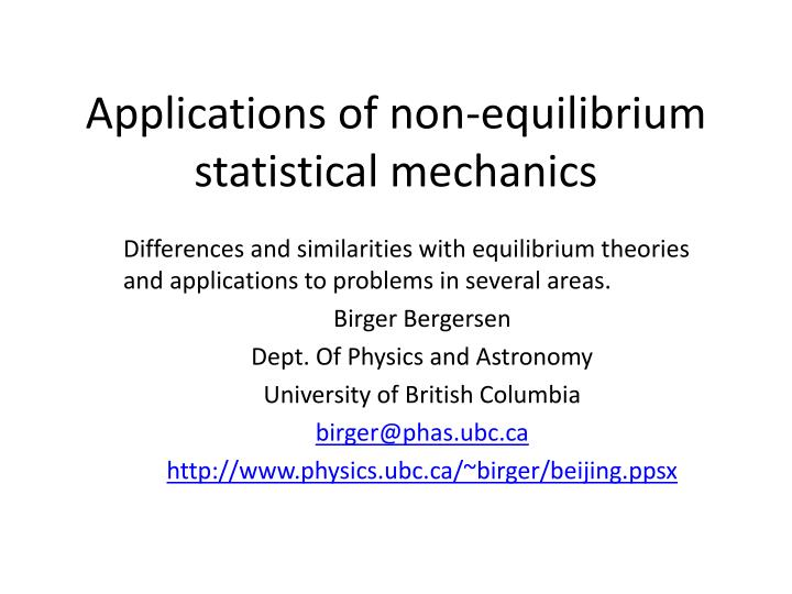 applications of non equilibrium statistical mechanics n.