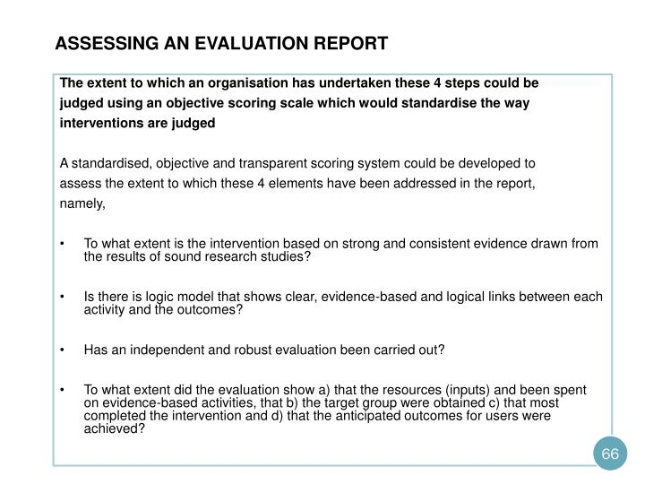 Assessing an evaluation report