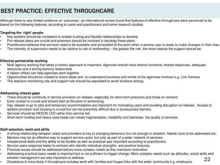 BEST PRACTICE: EFFECTIVE THROUGHCARE