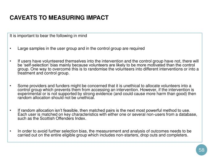 Caveats to measuring impact