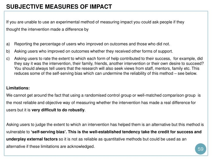 SUBJECTIVE MEASURES OF IMPACT
