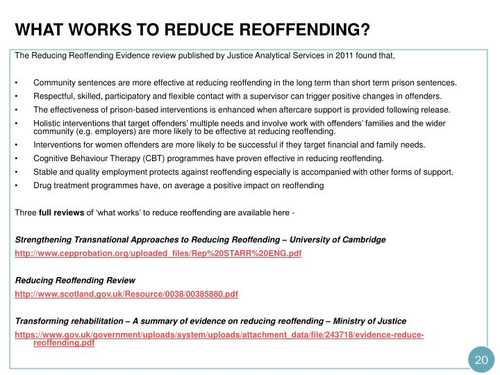 What works to reduce reoffending?