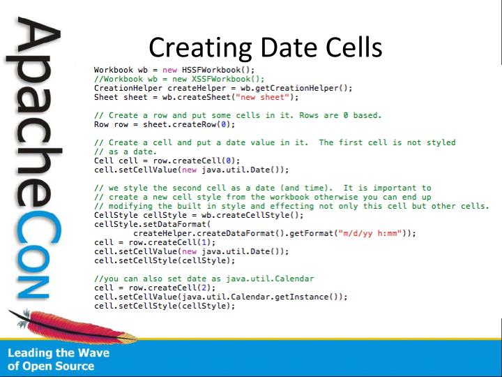 Creating Date Cells