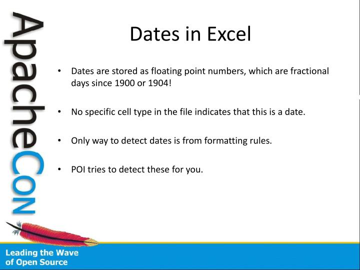 Dates in Excel