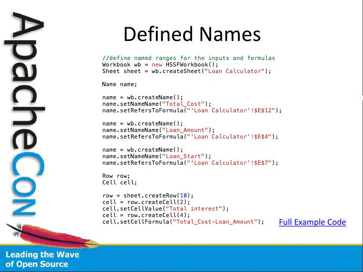 Defined Names