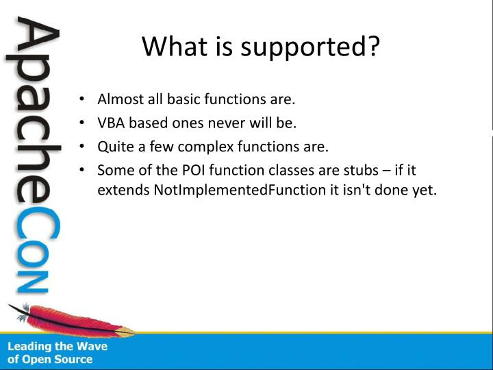 What is supported?