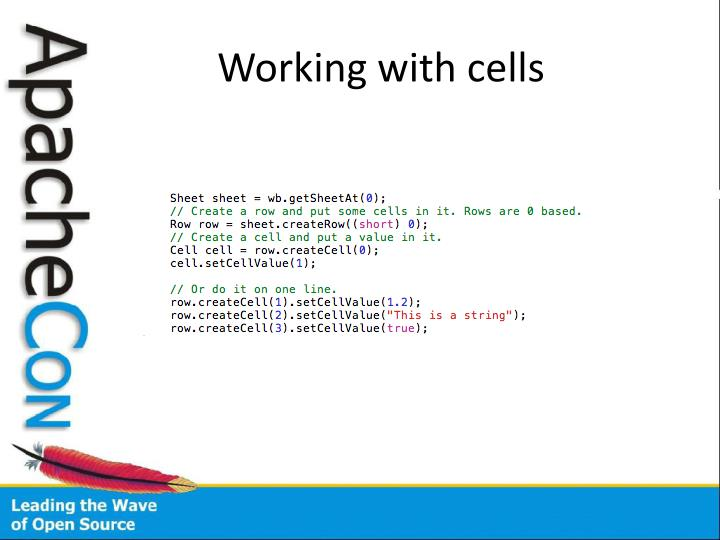 Working with cells