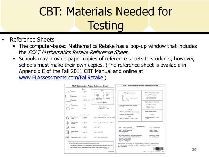 CBT: Materials Needed for Testing
