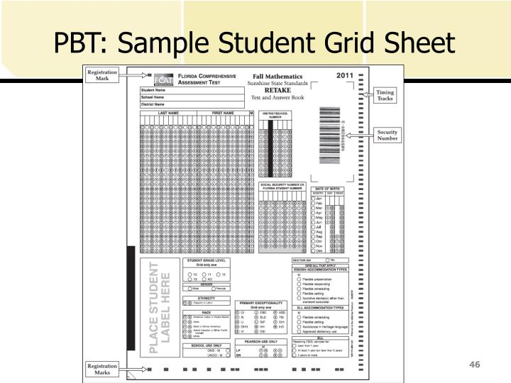 PBT: Sample Student Grid Sheet