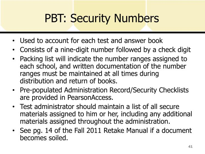 PBT: Security Numbers