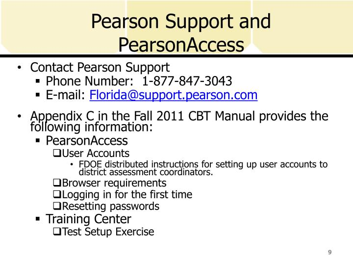 Pearson Support and PearsonAccess