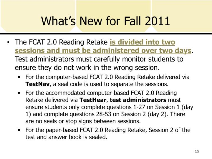 What's New for Fall 2011