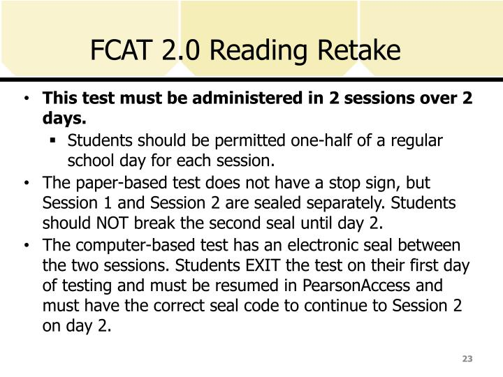 FCAT 2.0 Reading Retake