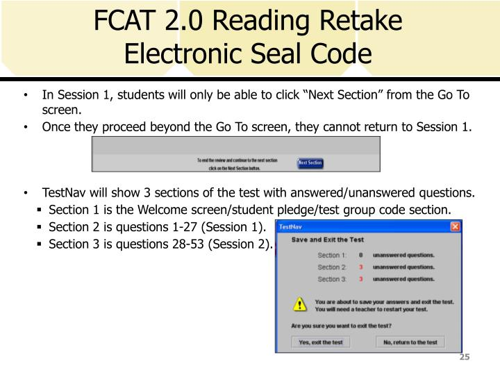 FCAT 2.0 Reading Retake Electronic Seal Code