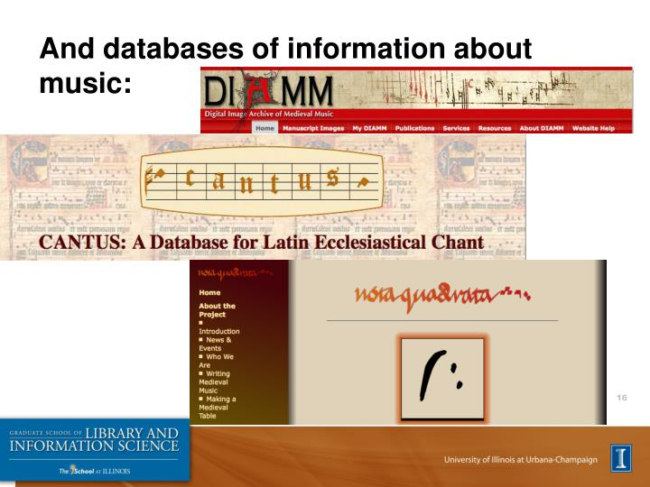And databases of information about music: