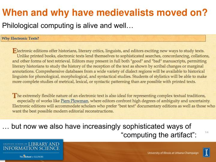 When and why have medievalists moved on?