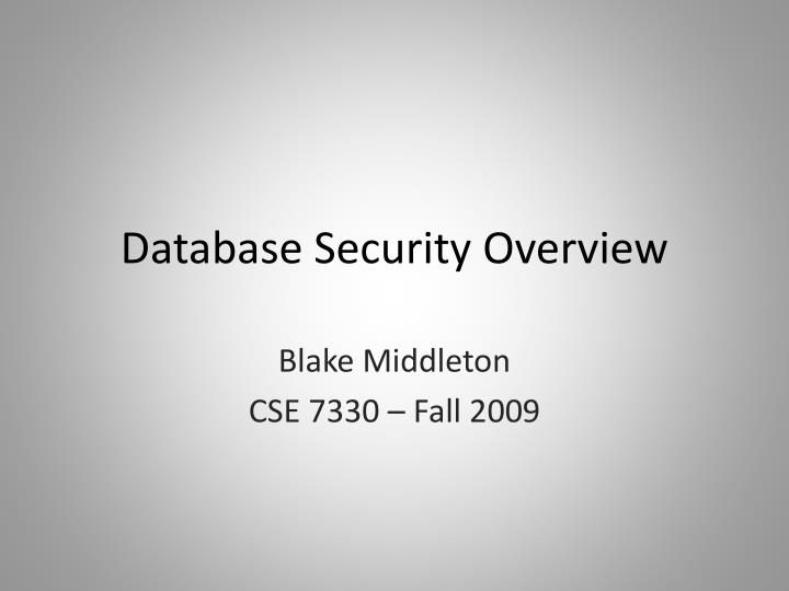 database security overview n.