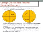 concept circles before reading westward movement
