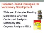 research based strategies for vocabulary development