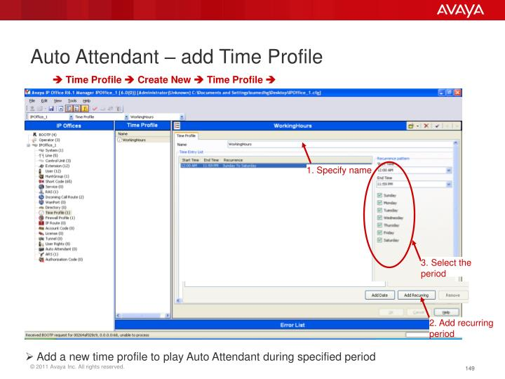 Auto Attendant – add Time Profile