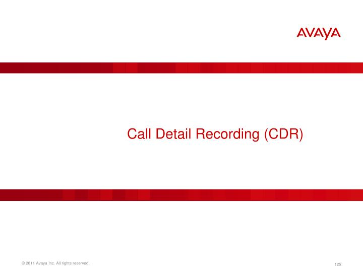 Call Detail Recording (CDR)