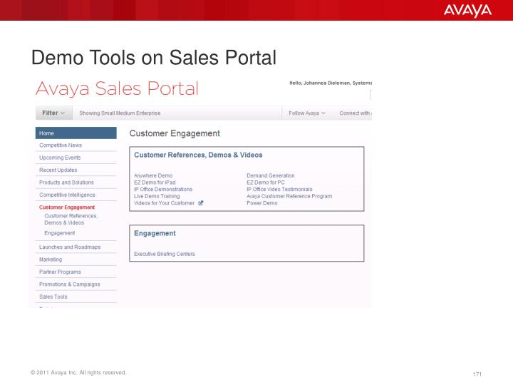 Demo Tools on Sales Portal