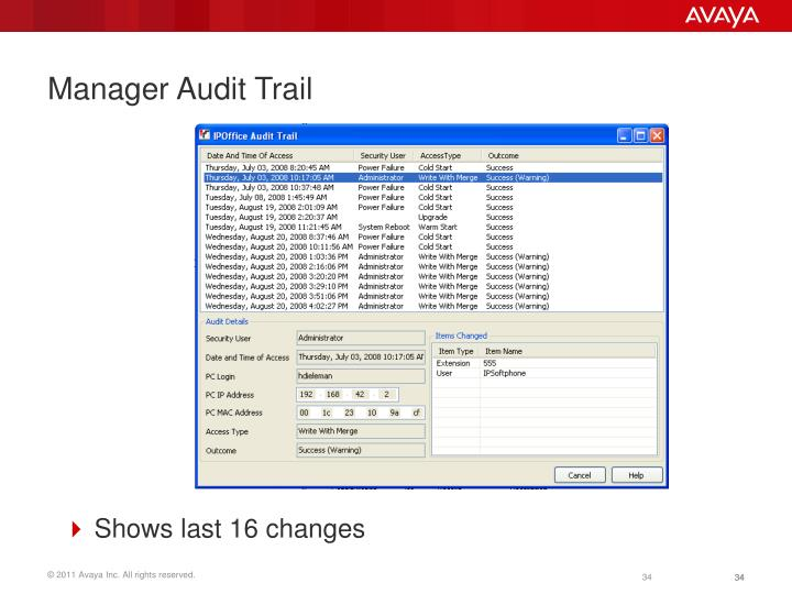 Manager Audit Trail