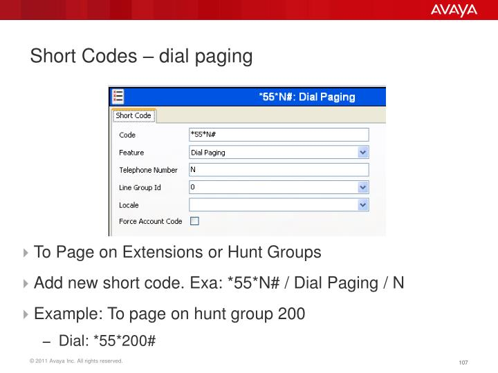 Short Codes – dial paging