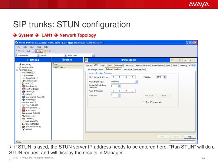 SIP trunks: STUN configuration