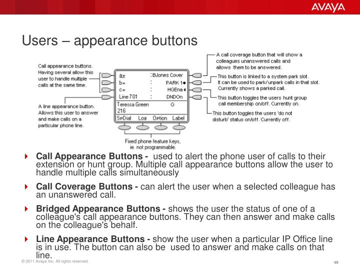 Users – appearance buttons