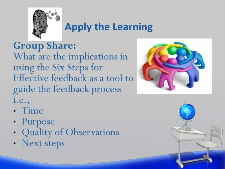 Apply the Learning