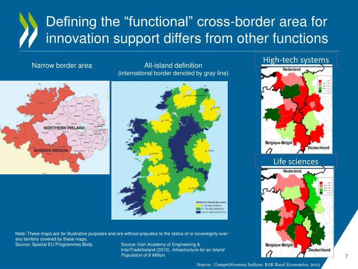 "Defining the ""functional"" cross-border area for innovation support differs from other functions"