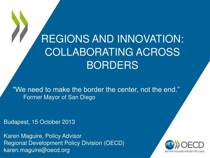 Regions and innovation collaborating across borders
