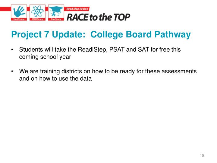 Project 7 Update:  College Board Pathway