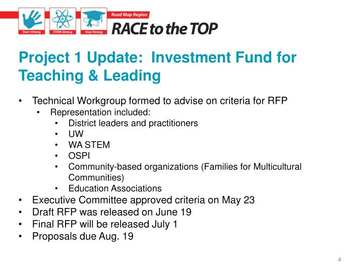 Project 1 Update:  Investment Fund for Teaching & Leading