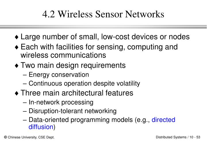 4.2 Wireless Sensor Networks