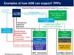 examples of how adb can support ppps