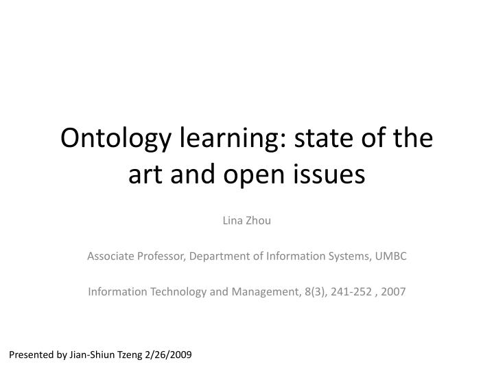 ontology learning state of the art and open issues n.