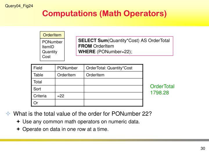 Computations (Math Operators)