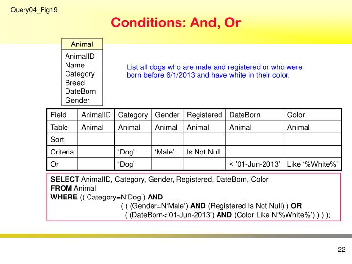 Conditions: And, Or