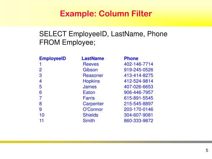 Example: Column Filter