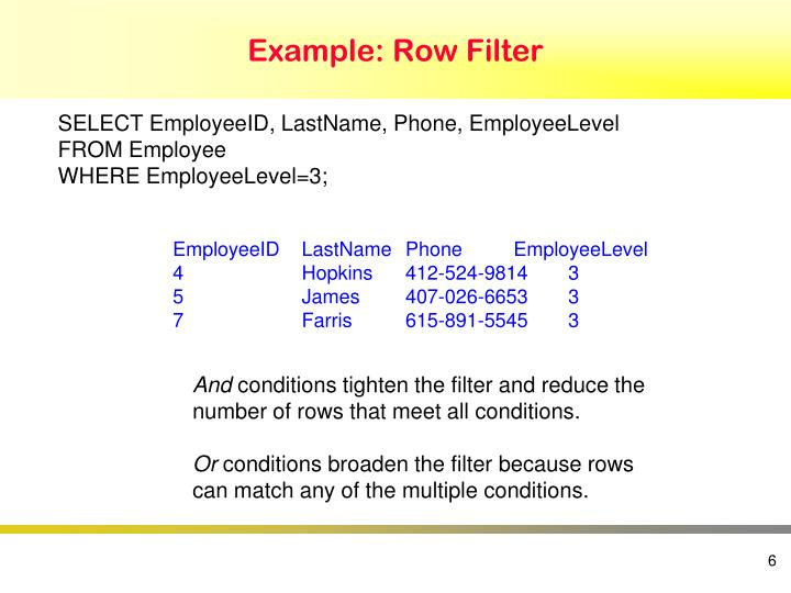 Example: Row Filter