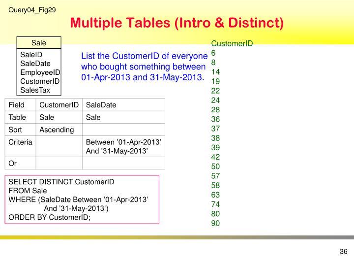 Multiple Tables (Intro & Distinct)