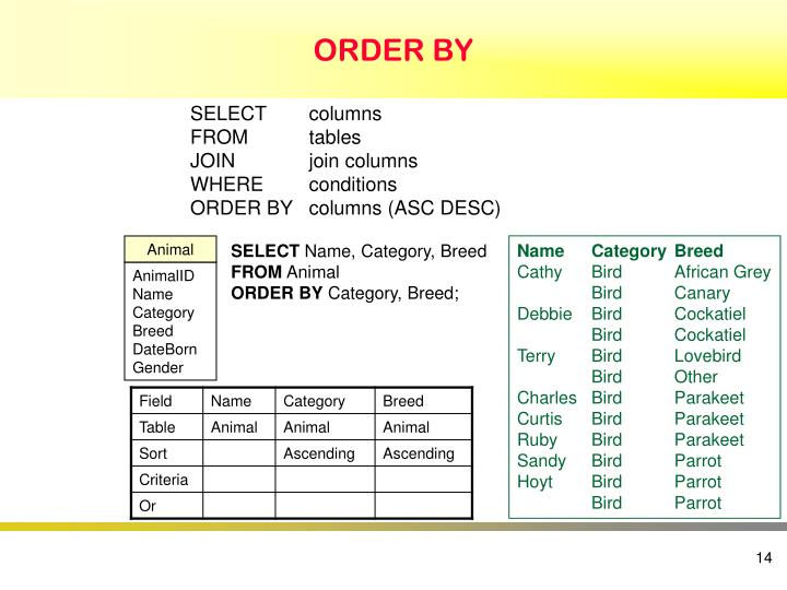 ORDER BY